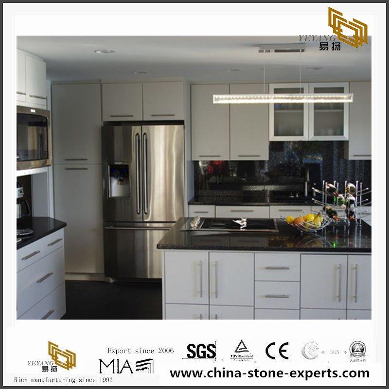 China Artificial Engineered Sparkle Black Quartz Kitchen Countertops