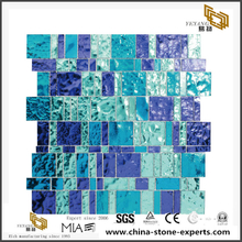 Mix Blue Polished Crystal Floor Tiles Polish Glass Mosaic Outlet