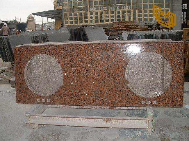 Maple Red Granite Vanity Tops for Bathroom Decoration (YQW-11025C)
