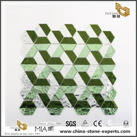 Design Green And White Bathroom Tiles Crystal Glass Mosaic