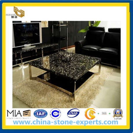 Black fossil marble table top (YQA-MC1006)