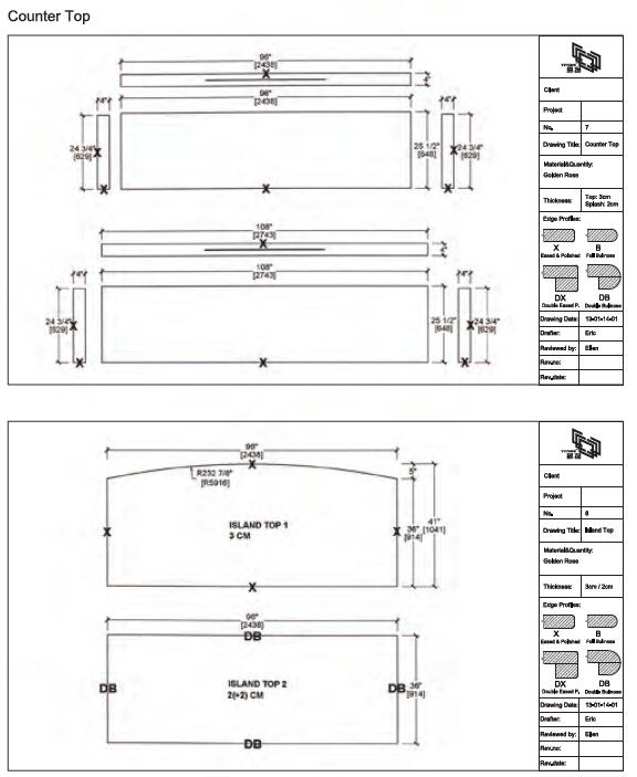 Kitchen countertop popular size cad drawing-yeyang stone
