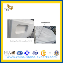 Artificial Stone White Quartz for Vanity Top, Countertop, Tile (YQA-QC)