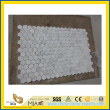 Castro White Stone Marble Mosaic for Bathroom Flooring Tile