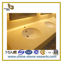 Beige Color Natural Marble Pattern Artificial Quartz Stone for Counter Top(YQC)